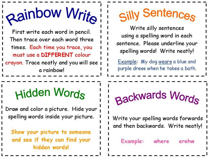 Fun spelling activities - Spelling activities to reinforce weekly spelling words.