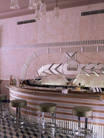 Art Deco Period Bar Area, Usha Kiran Palace Hotel, Gwalior, Madhya Pradesh…
