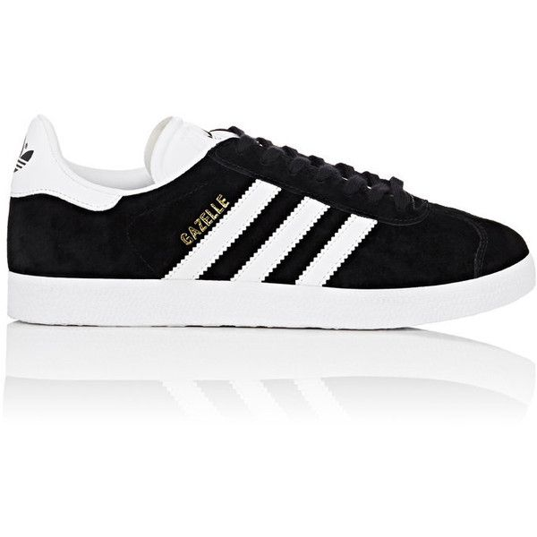 adidas Women's Women's Gazelle Suede Low-Top Sneakers found on Polyvore featuring shoes, sneakers, adidas, black, sapatos, black suede sneakers, striped sneakers, low top, black trainers and black lace up sneakers