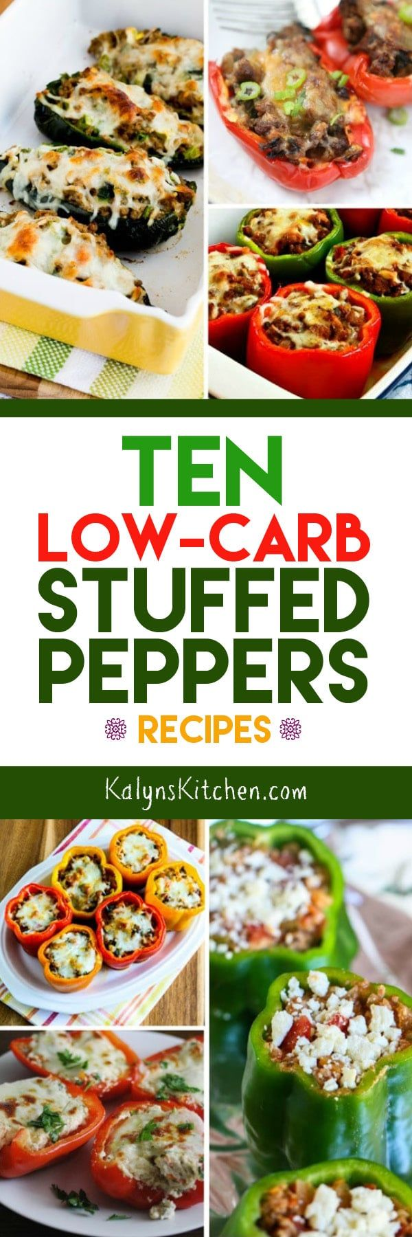Ten Low-Carb Stuffed Peppers Recipes found on KalynsKitchen.com