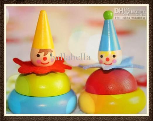 Cheap Baby Toy Colorful Rainbow Wooden Spinny Top German Wooden Spin Toys Education Toys For Toldder Baby Wooden Clown Spine Toy Top Spine