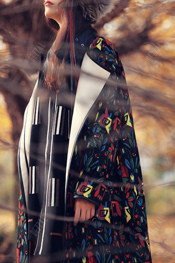 Printed Oversized Long Coat