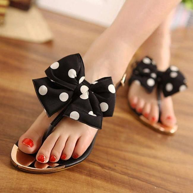 Black and White Polka Dots Beach Sandals Summer Flat Bow Sandals