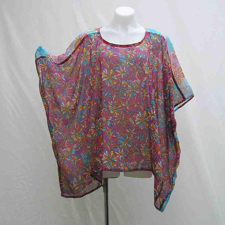 Pink and blue caftan, Plus size Tunic, plus size caftan, cover up, boho caftan, bohemian kaftan, 1x 2x 3x 4x 5x 6x, pink blue yellow tunic by Rethreading on Etsy