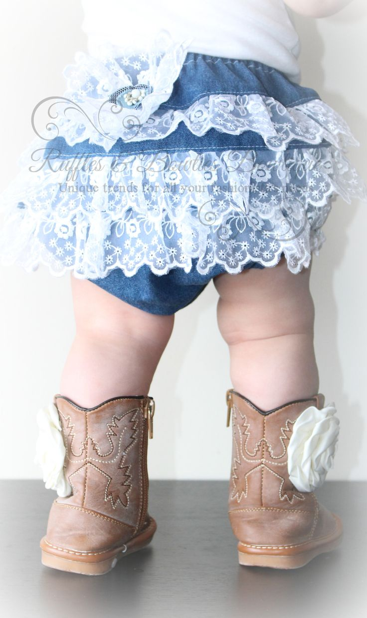 This adorable denim diaper cover features the sweetest lace ruffles, perfect for your country princess! Denim Diaper Covers are great for parties, photos, dress-up, tea parties, parades, recitals, che