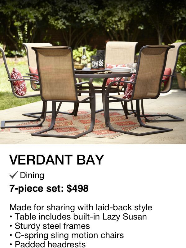 c spring patio chairs 24 inch counter verdant bay set 7 piece 498 6 and 1 table available in dining sets only