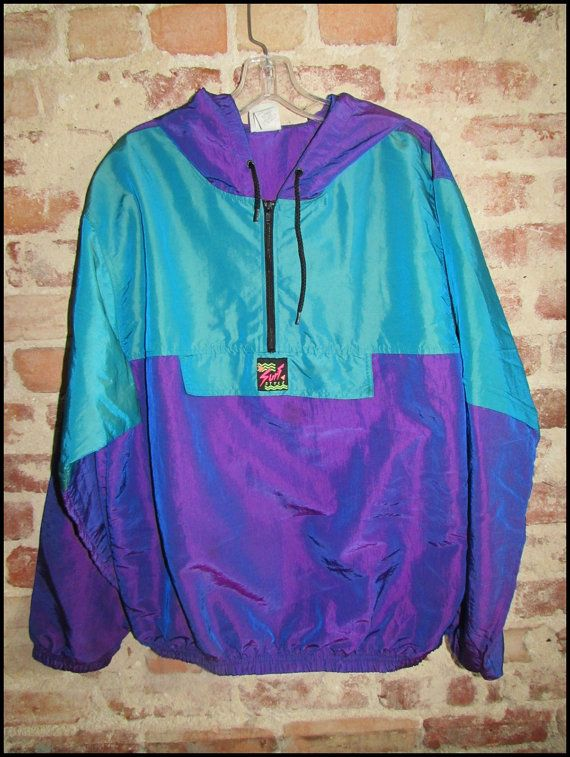 Vintage 90's Surf Style Surf Gear Irredescent Windbreaker Jacket by RackRaidersVintage on Etsy