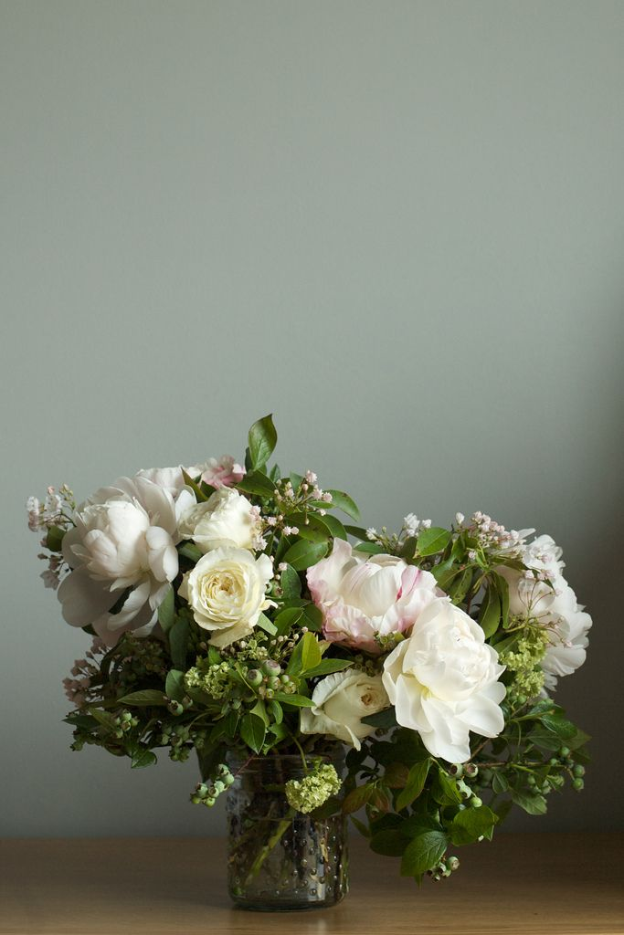 Blush Arrangement: 'Gardenia' peonies, 'Festiva Maxima' peonies, 'Miranda' garden roses, viburnum, unripened blueberries and mountain laurel