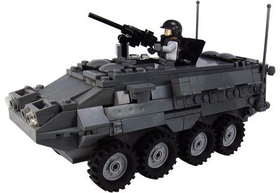 Custom LEGO Military Vehicle Model Set For Soldier Minifigs US Modern Stryker Armored Fighting Vehicle Mobile Gun System
