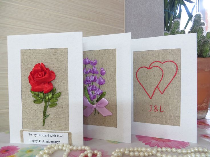 13th Wedding Anniversary Gifts For Men: 12th 4th Anniversary Card For Men Him Silk Linen