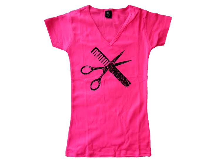 Hairstylist barber tools professions distressed fade look pink women t shirt -fit the body by mycooltshirt on Etsy