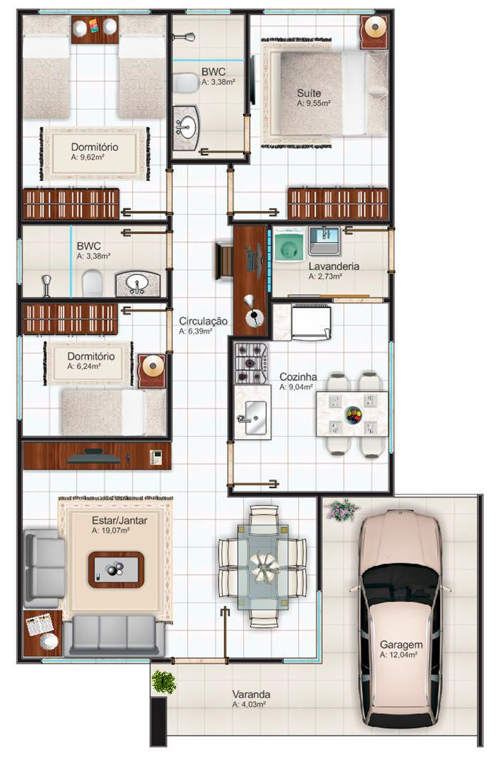 Plantas de casas 70m2 com 2 quartos e 1 suite para for 70m2 house design