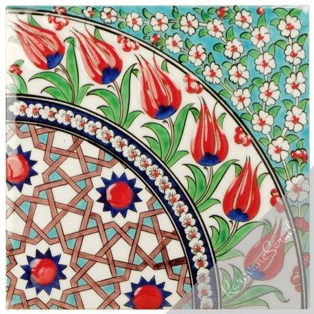 Décoration orientale, carreau oriental ottoman Seldjouk 20x20 de style Iznik