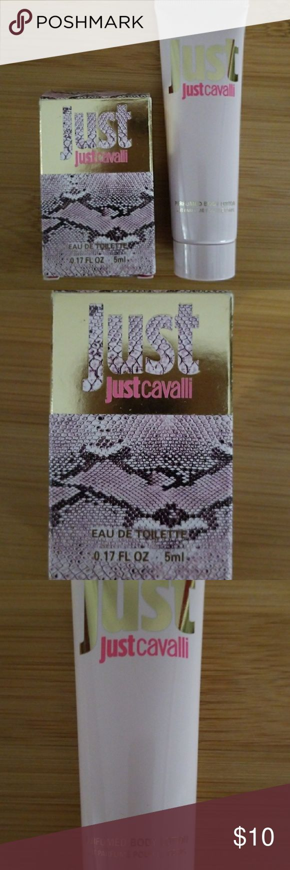 Just Cavalli Brand Perfume and Lotion Sample sizes great for travel or to carry in your purse. Lovely scent. Just Cavalli Makeup