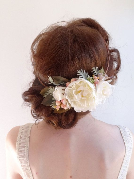 white peony hair accessories bridal flower crown by thehoneycomb