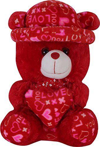 941a171400 AVS Stuffed Spongy Soft Cute Cap Teddy Bear with Heart 48cm Red - 48 cm  (Red)