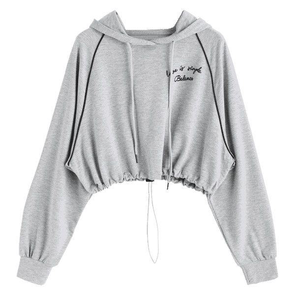 Gathered Hem Letter Cropped Hoodie Gray ($30) ❤ liked on Polyvore featuring tops, hoodies, zaful, gray crop top, hoodie crop top, cropped hooded sweatshirt, grey hooded sweatshirt and grey hoodie