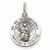 Sterling Silver Antiqued De La Providencia Medal, Beautiful Charm