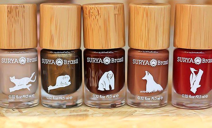 SURYA   Esmaltes Surya Exotic Animals     A Surya, famosa marca de cosméticos veganos, traz em sua linha Exotic Animals 16 cores de esmaltes além de base seda, extra-brilho, óleo secante, removedor de esmaltes orgânico e utensílios como lixa e palito de bambu. Os produtos não contêm cânfora, DBP, parabenos, formaldeído e tolueno. Também são livres de ingredientes de origem animal e testes em animais.