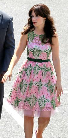 Zooey Deschanel's Pink and green floral illusion dress on the set of New Girl season 4.  Outfit Details: http://wwzdw.com/z/4652/ #WWZDW
