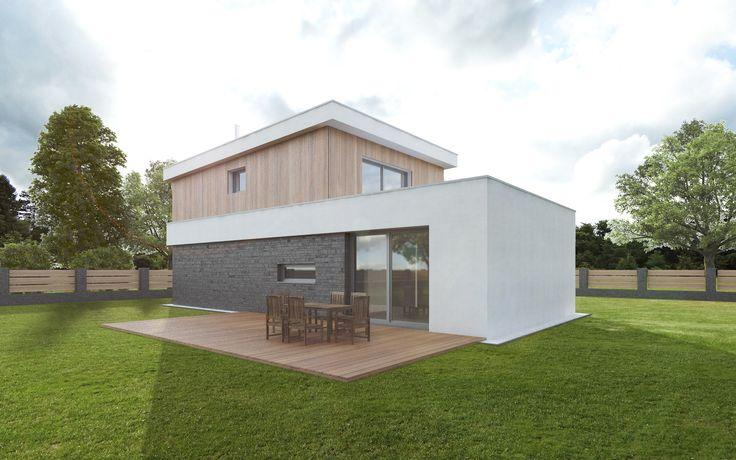 Za domem je umístěna prostorná dřevěná terasa navazující na jídelnu. Prodloužená část 1NP tvoří prostor pro případné umístění terasy v patře přístupné z hlavní ložnice, kterou se vzhledem k rozpočtu investor zatím rozhodl nerealizovat.