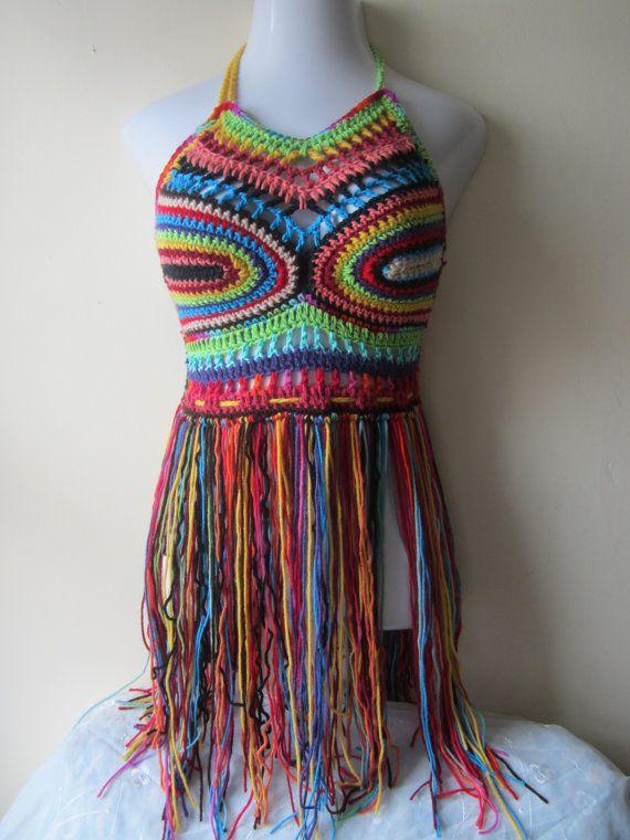 CROCHET FESTIVAL TOP, high neck halter, Fringe halter top, crochet elongated fringe halter top, Fringe ,gypsy, Hippie, boho, rainbow on Etsy, $65.00