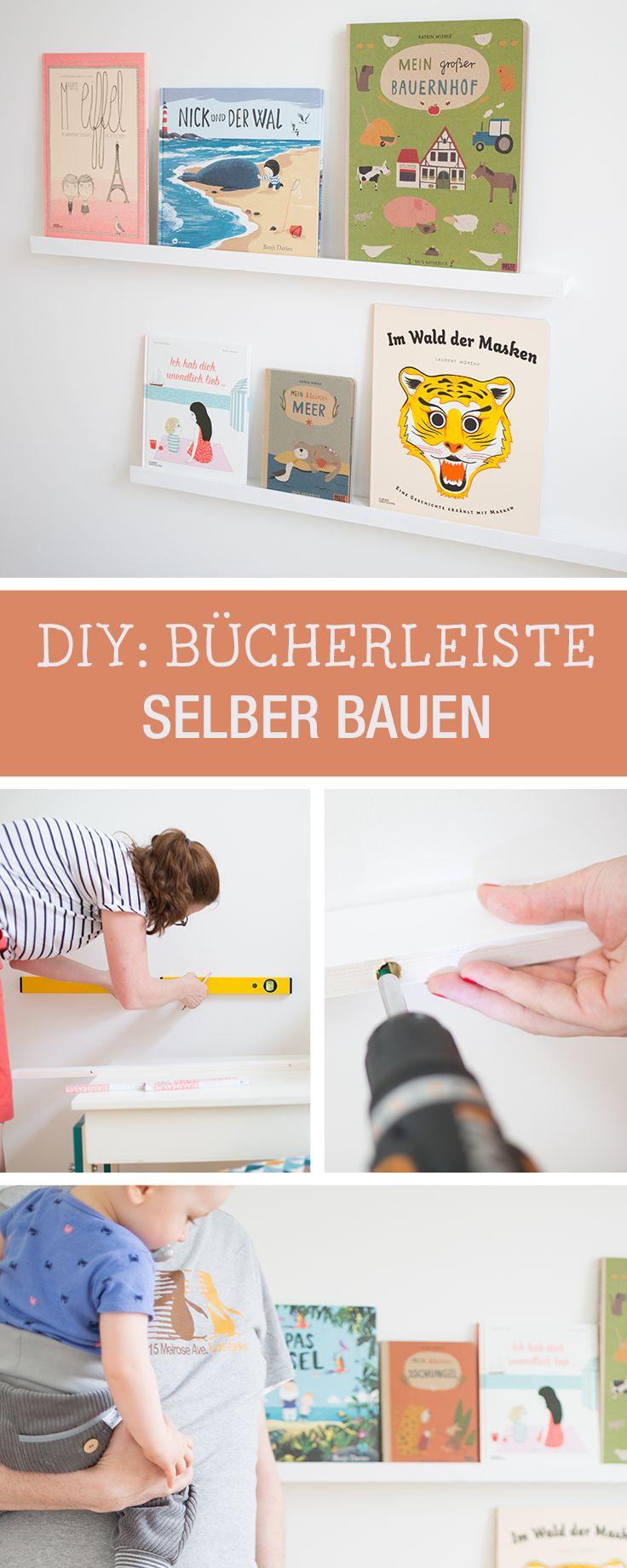 Kinderzimmer DIY: Schlichte Bücherleiste, die Bilderbücher perfekt in Szene setzt / living diy: slim and simple shelf for children's storybooks via DaWanda.com