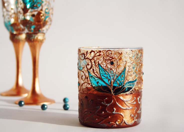 Turquoise copper tea light candle holder hand painted floral copper lace stained glass 19 90