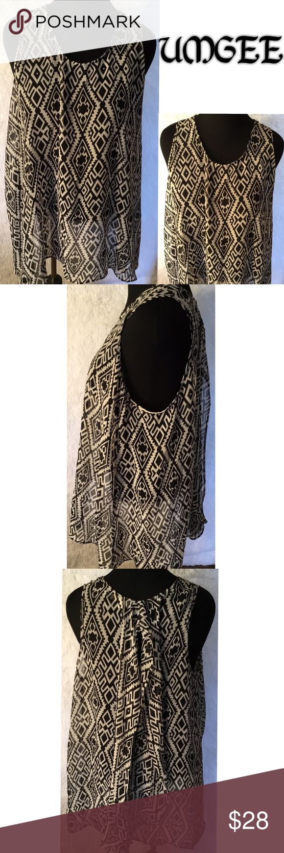 Aztec Sleeveless Top Black/White sleeveless top, semi sheer, NWOT , match with a black or white cami underneath ....C-1 Umgee Tops
