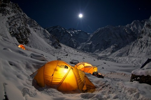 Base camp in the moonlight