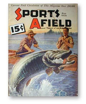 May 1936 Sports Afield Magazine.  Musky Fishing Cover.