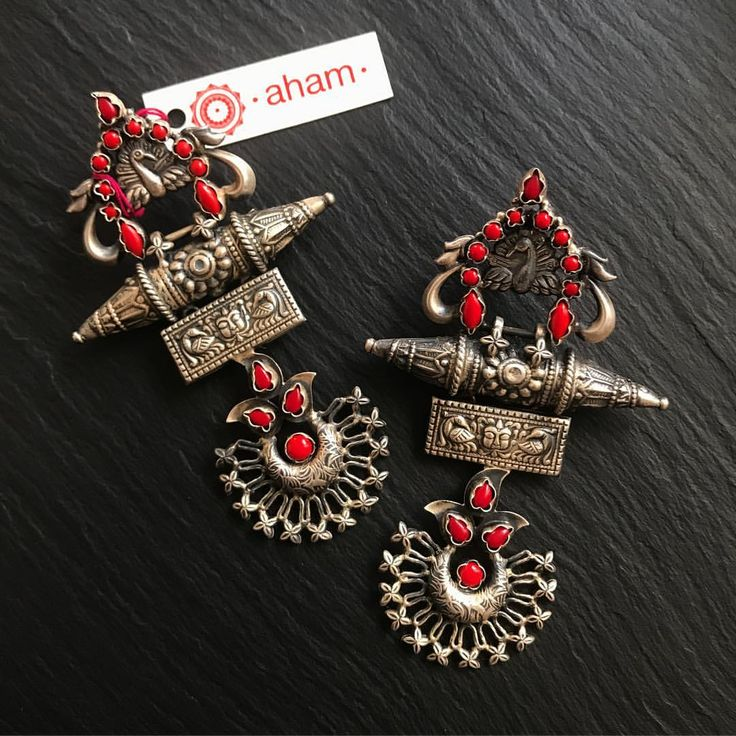"506 Likes, 13 Comments - Aham (@aham_jewellery) on Instagram: ""Silver and coral Code: SE6 ~~sold~~ Rs 5,800 plus shipping Length: 9.5 cms 92.5 silver These…"""