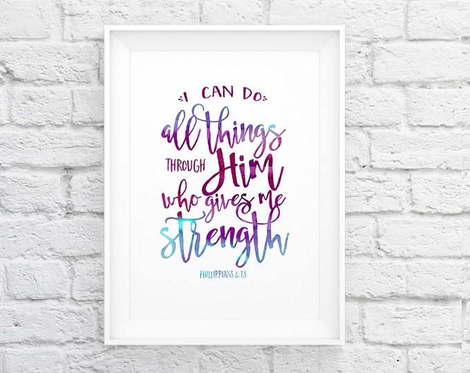 Bible verse Printable artPhil 4:13 | I can do all things | rainbow watercolor | typography Scripture print | Instant download |