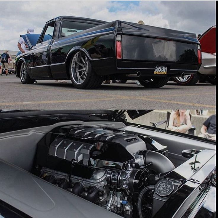 1967 C10 w/ LS3 6.2L swap and a sick stance engine cover coil valve. 67 to 72 black with red interior concave multi spoke wheels grey slammed tucked. camaro engine cover