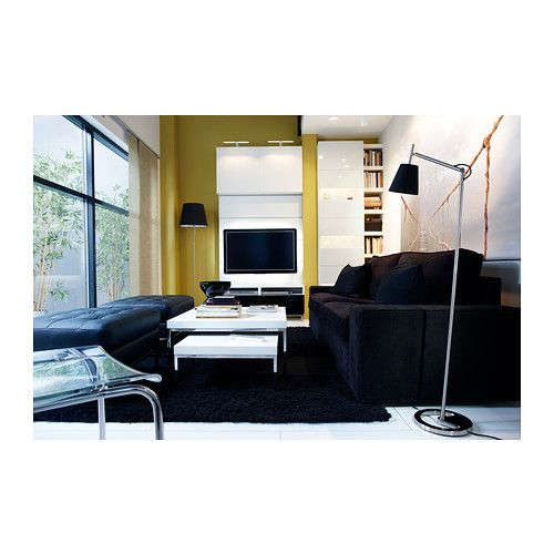 Furniture:Cool Living Room Design With Black Sofa And Stools Standing Lamp  And White Table And Black Carpet Ideas Glass Windows Space Saving.