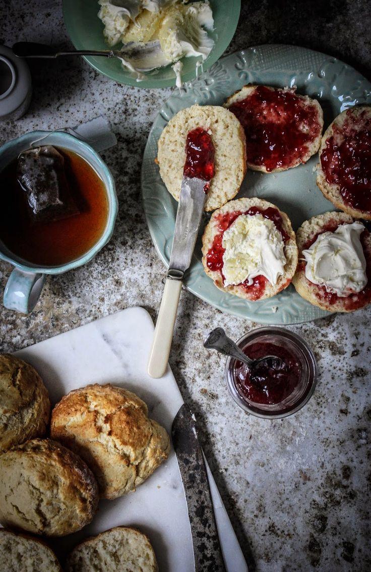 devon cream tea traditional english scones with cream and jam                                                                                                                                                     More