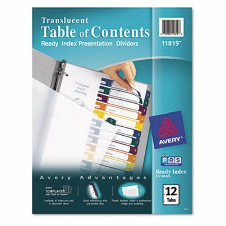 Avery Ready Index Customizable Table of Contents Plastic Dividers, 12-Tab, Letter, Multicolor