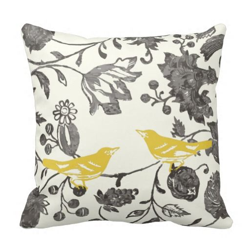 Yellow Bird Throw Pillows : Home Vintage Floral, Ivory and Gray