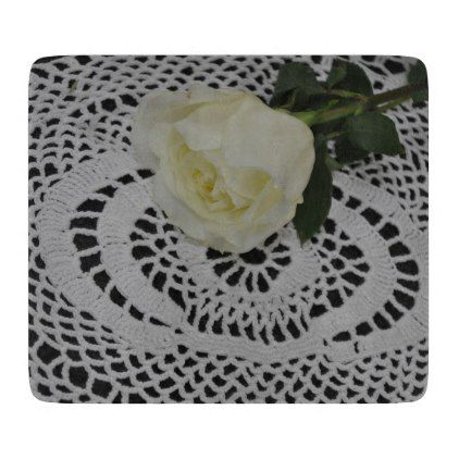 Rose and Lace Photo Cutting Board - photography gifts diy custom unique special