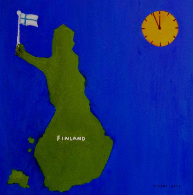 Finland, oljemålning. Finland, oil painting.