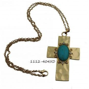 Αλυσίδα Σταυρός με πέτρα Τυρκουάζ