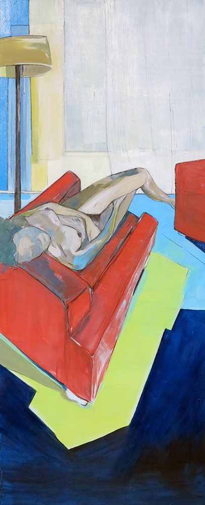 'Red Chair' by South African artist Michaela Rinaldi. Available for sale through our online art gallery.