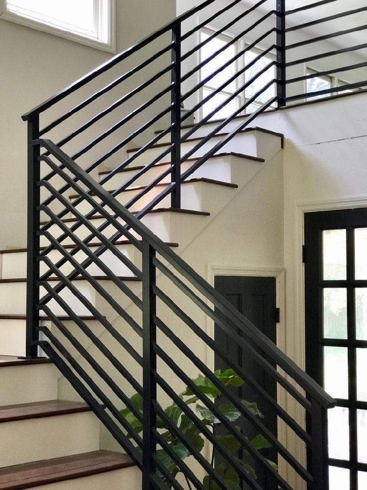 Our Finished Staircase With Horizontal Stair Railing   Handrail Cost Per Foot