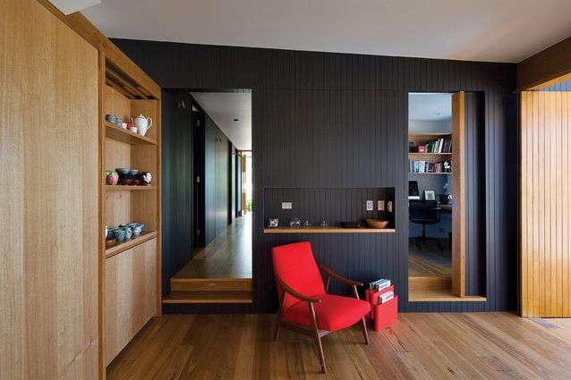 Blackbutt floors, bespoke joinery and timber wall panelling.