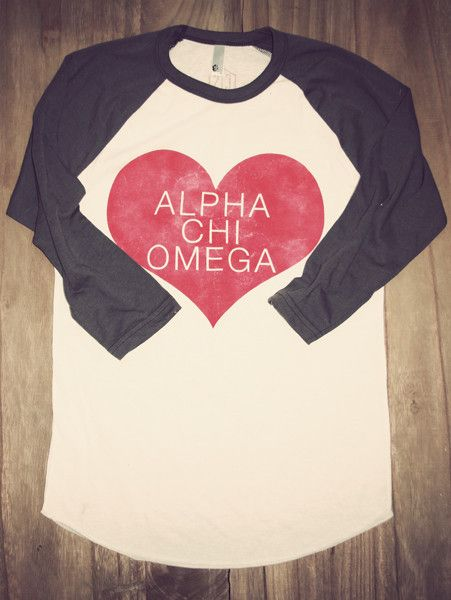 Greek Love Raglan Tee by Charlie Southern. Alpha Chi Omega (sorority apparel and gifts)