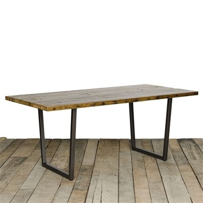 Brooklyn reclaimed wood dining table with custom dimensions that having a salvaged wood top and urban design steel leg base. Custom furniture for dining room, kitchen, mudroom and more for home or business.