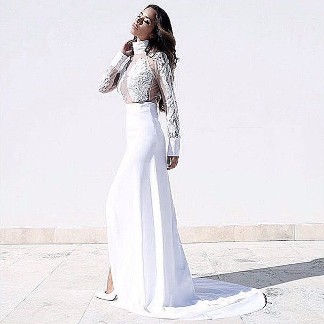 Shiralee Coleman wears MARIAM SEDDIQ SS16 gown in Santorini Greece