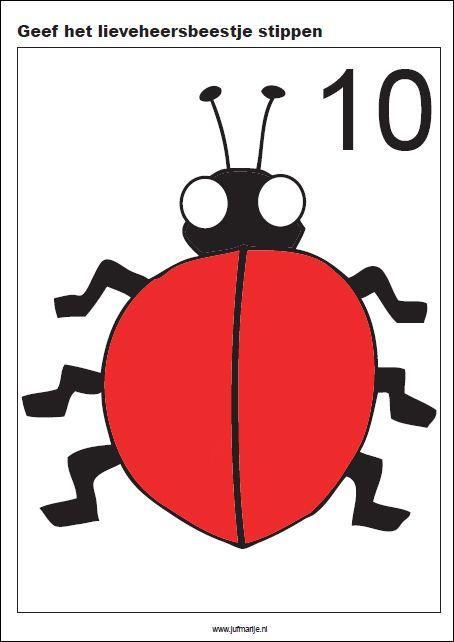 Geef het lieveheersbeestje stippen, 10 kaarten - Rekenen