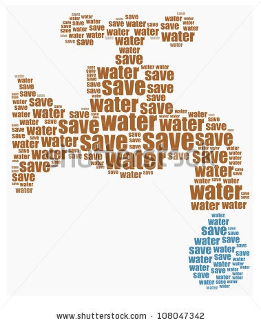 Save water text graphics composed in water tap shape concept word clouds