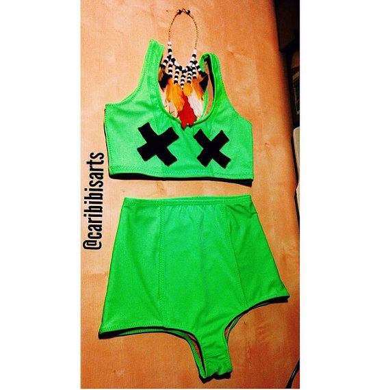 Lime Green High-Waisted Bikini by CaribIbis on Etsy
